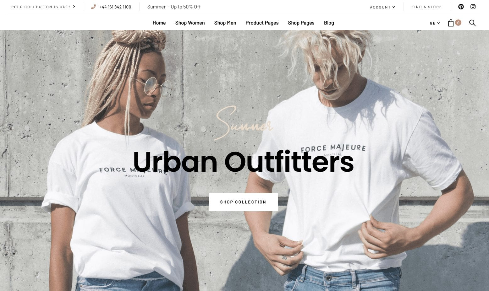 Website Design for Urban Outfitters